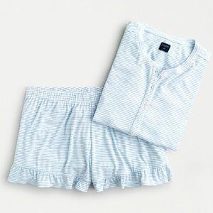 J crew drapery ribbed short pajama set ruffles